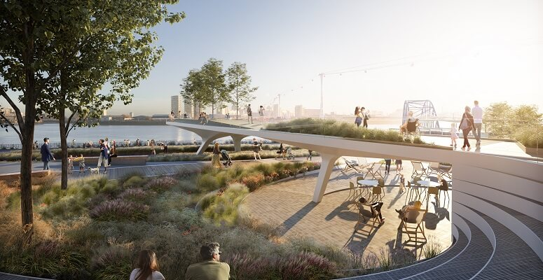 London's first riverside linear park 'The Tide' arrives on Greenwich Peninsula